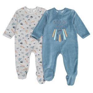 Комплект из 2 цельных пижам LaRedoute. Цвет: синий