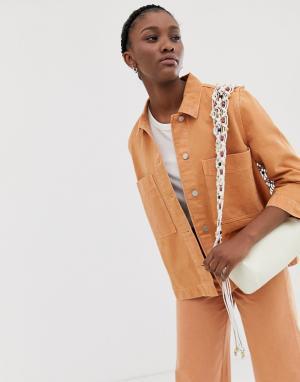 Комбинируемая джинсовая куртка мандаринового цвета Weekday. Цвет: оранжевый