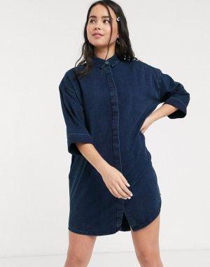 Синее джинсовое платье-рубашка мини -Синий Monki