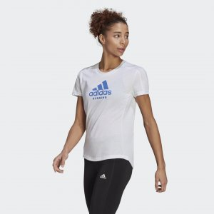 Футболка для бега Logo Graphic Performance adidas. Цвет: белый