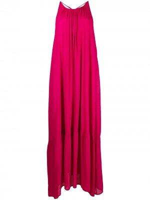 Расклешенное платье с открытой спиной 8pm. Цвет: розовый