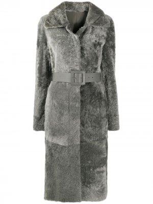 Однобортное пальто с поясом Drome. Цвет: серый