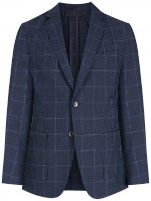 Узкий пиджак в клетку BOSS. Цвет: синий