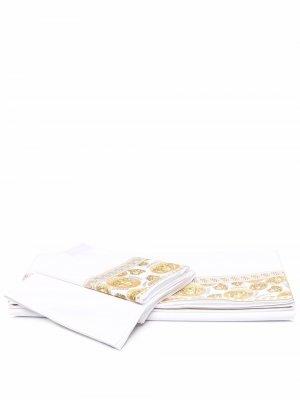 Комплект постельного белья с принтом Medusa Versace. Цвет: белый