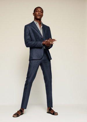 Костюмный пиджак slim fit изо льна - Florida Mango. Цвет: темно-синий