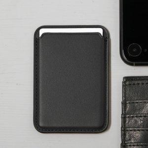 Кожаный чехол-бумажник luazon, поддержка magsafe для iphone 12/13/pro/mini/pro max, черный Luazon Home