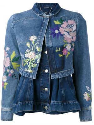 Джинсовая куртка с вышивками Alexander McQueen. Цвет: синий