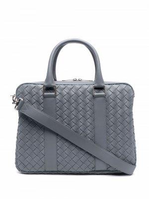 Плетеная сумка для ноутбука Bottega Veneta. Цвет: серый
