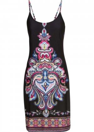 Платье с летним принтом bonprix. Цвет: черный