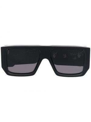 Солнцезащитные очки Tropez в прямоугольной оправе Off-White. Цвет: черный