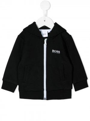 Куртка с капюшоном и логотипом BOSS Kidswear. Цвет: черный