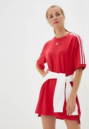 Платье adidas Originals Tee Dress. Цвет: красный