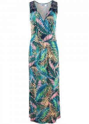 Трикотажное платье макси bonprix. Цвет: синий