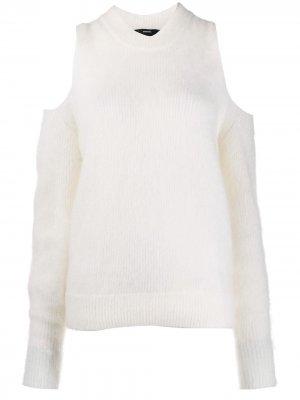 Пуловер с открытыми плечами Diesel. Цвет: белый