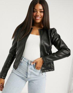 Черная куртка из искусственной кожи с пышными рукавами -Черный Lipsy