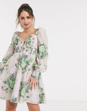 Короткое приталенное платье с вышивкой ришелье и цветочным принтом -Мульти ASOS DESIGN