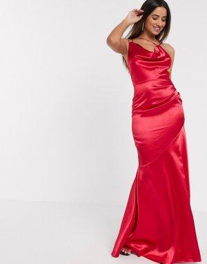 Розовое атласное платье макси со свободным воротом -Розовый цвет Goddiva