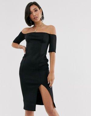 Облегающее платье миди -Черный ASOS DESIGN
