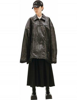 Кожаная куртка с потертостями Balenciaga