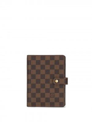 Обложка для записной книжки Damier Ebène Agenda MM 2012-го года Louis Vuitton. Цвет: коричневый