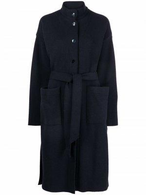Single-breasted belted coat Barena. Цвет: синий