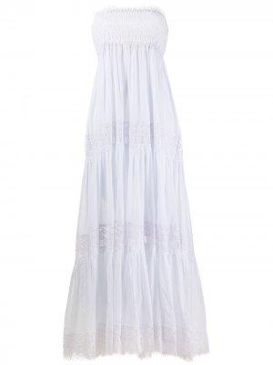 Ярусное платье с открытыми плечами Charo Ruiz Ibiza. Цвет: белый