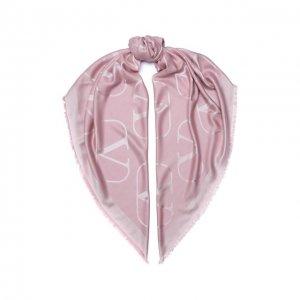 Шаль из шелка и шерсти Garavani Valentino. Цвет: розовый
