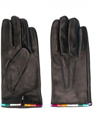 Перчатки с вышивкой Paul Smith. Цвет: черный