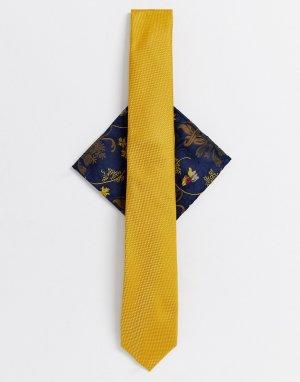 Комплект с галстуком горчичного цвета и темно-синим платком для пиджака -Желтый Burton Menswear