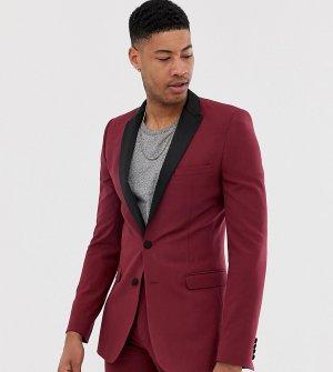 Бордовый пиджак-смокинг супероблегающего кроя Tall-Красный ASOS DESIGN