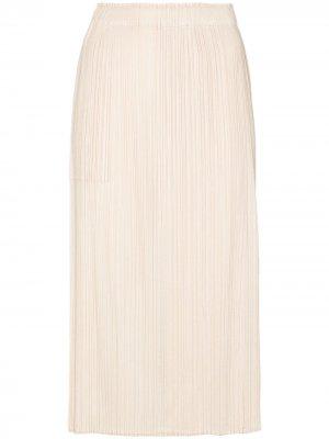 Плиссированная юбка миди с разрезом спереди Pleats Please Issey Miyake. Цвет: нейтральные цвета
