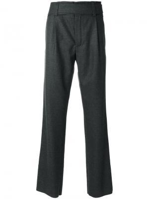 Классические брюки прямого кроя Saint Laurent. Цвет: серый