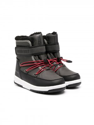 Непромокаемые ботинки на липучке Moon Boot Kids. Цвет: черный