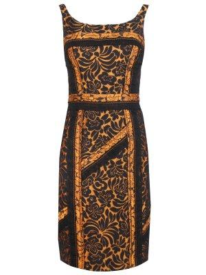 Хлопковое платье PRADA. Цвет: коричневый