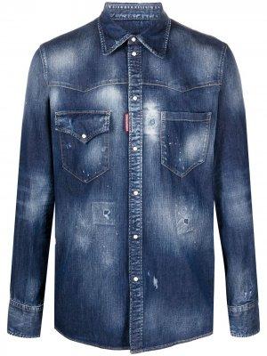 Джинсовая рубашка с эффектом потертости Dsquared2. Цвет: синий