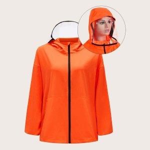 Водостойкая куртка-ветровка с капюшоном съемной прозрачной маски для лица SHEIN. Цвет: оранжевые яркий