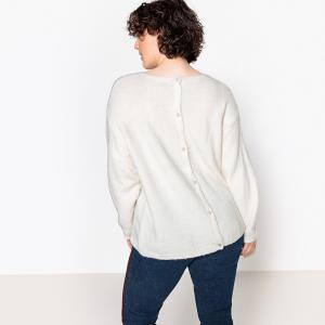 Пуловер с круглым вырезом и декоративными пуговицами сзади CASTALUNA. Цвет: красный,слоновая кость