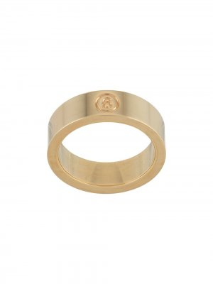 Кольцо с гравировкой логотипа MM6 Maison Margiela. Цвет: золотистый