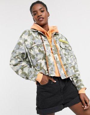 Короткая спортивная куртка с камуфляжной отделкой -Мульти Tommy Jeans
