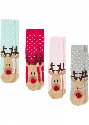 Новогодние носки с поздравительной открыткой (4 шт.) bonprix. Цвет: ярко-розовый