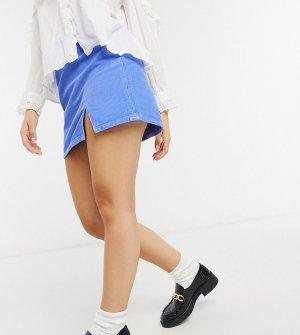 Вельветовая мини-юбка из денима синего цвета с разрезом спереди ASOS DESIGN Petite-Голубой Petite