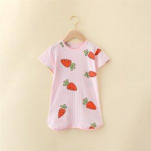 Боди-футболка с принтом моркови для девочек SHEIN. Цвет: нежний розовый