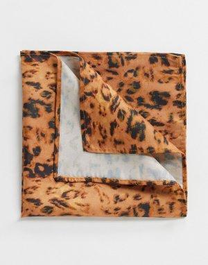 Коричневый платок для нагрудного кармана с леопардовым принтом ASOS DESIGN