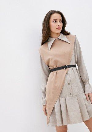 Платье и жилет Rainrain. Цвет: бежевый
