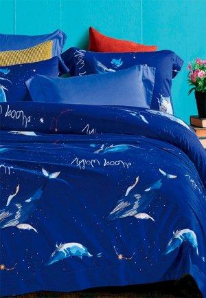 Постельное белье Евро Bellehome Созвездие Кита. Цвет: синий