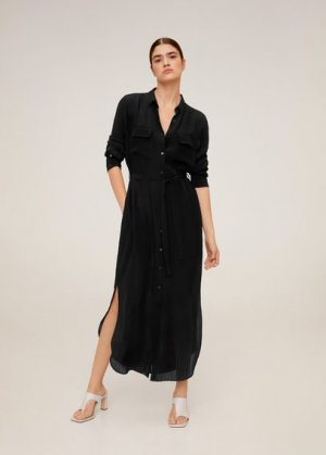 Длинное платье-рубашка - Ningbox-i Mango. Цвет: черный