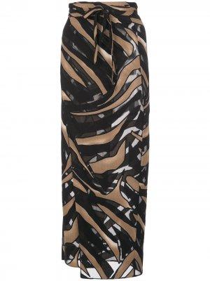 Двухцветная юбка миди Lisa Marie Fernandez. Цвет: черный