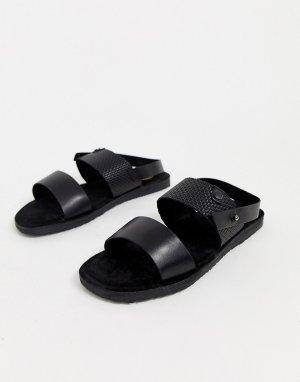 Черные кожаные сандалии -Черный Base London
