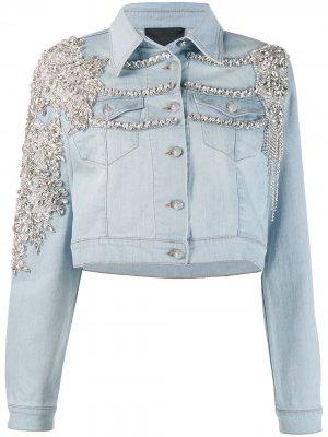 Джинсовая куртка с кристаллами Philipp Plein. Цвет: синий