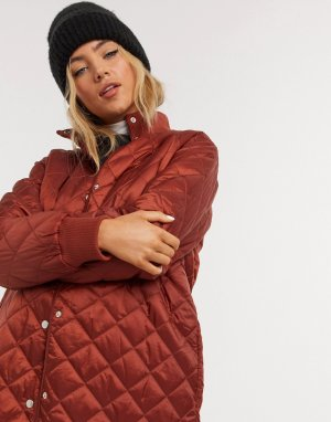 Рыжее стеганое пальто Himal-Коричневый In Wear